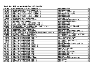2015年 日本マスターズ水泳協会 公認大会一覧