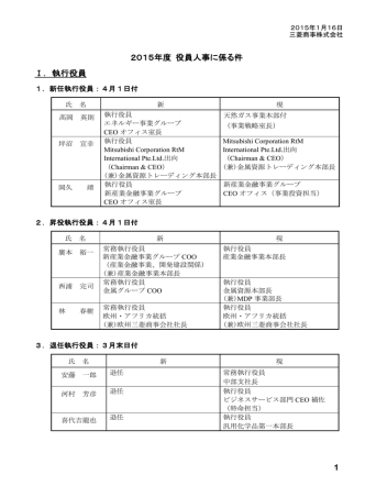 1 2015年度 役員人事に係る件 Ⅰ.執行役員