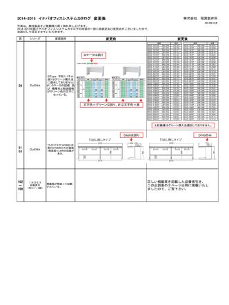 2014-2015 イナバオフィスシステムカタログ 変更表