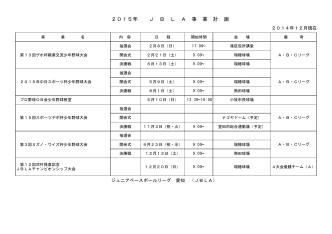 2015年 J B L A 事 業 計 画