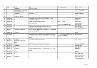 Date Genre Titre Titre en japonais Conférencier 1 ? Conférence IAA