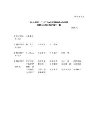 2015年 強化指定選手 - 一般社団法人日本知的障害者水泳連盟