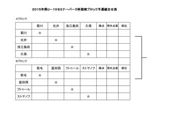 2015年県U-10セミナーパーク杯周南ブロック予選組合せ表 菊川 光井