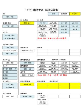14-15 国体予選 競技役員表