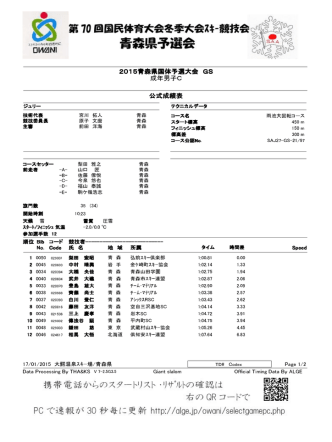 2015青森県国体予選大会 GS 成年男子C 公式