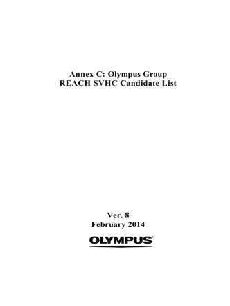 Annex C: Olympus Group REACH SVHC Candidate List Ver. 8