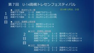 2014 第7回 U-14高槻トレセンフェスティバル・結果 12/20.21