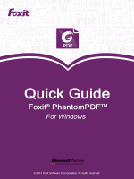 Foxit PhantomPDF Quick Guide - Foxit J