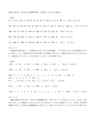 2015 年度日芸一般入試学力試験解答例、予想配点(2月3日実施分