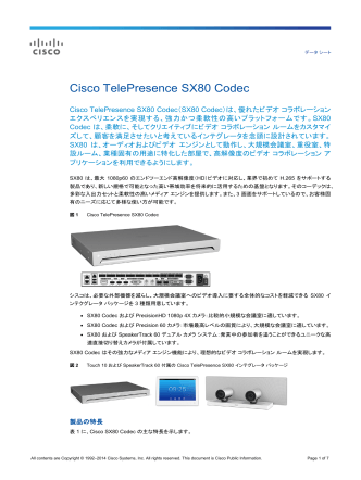 Cisco TelePresence SX80 Codec データ シート