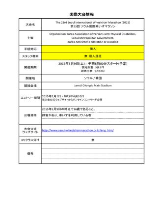 2015ソウル国際車いすマラソン大会ーご案内