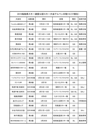 2015福島県スキー連盟公認スキー大会アルペン日程(10/27現在)
