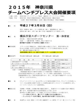 2015年 神奈川県 チームベンチプレス大会開催要項