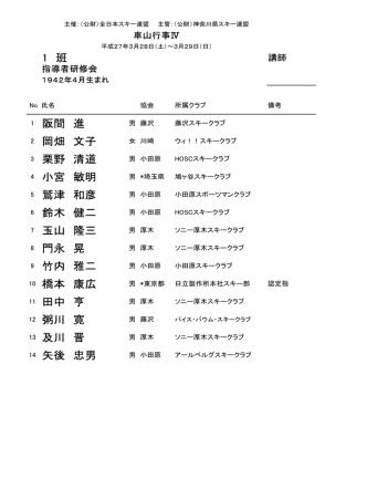 1 班 1 阪間 進 2 岡畑 文子 3 栗野 清道 4 小宮 敏明 5 鷲津 和彦 6 鈴木;pdf