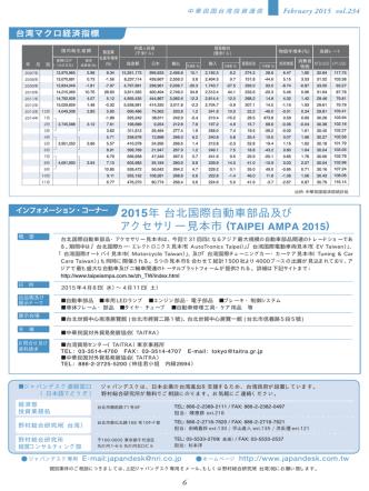 2015年 台北国際自動車部品及び アクセサリー見本市