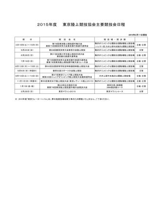 2015年度 東京陸上競技協会主要競技会日程