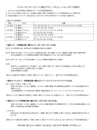 (4月期~)強化セレクション発表