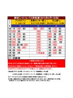 無料シャトルバス時刻表(2015年3月1日迄)