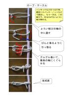 ロープ・テークル よろい結びの輪の 中に通す ぴんと張るように 引っ張る