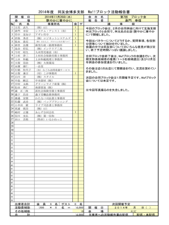 2014年度 同友会博多支部 Wa!!ブロック活動報告書