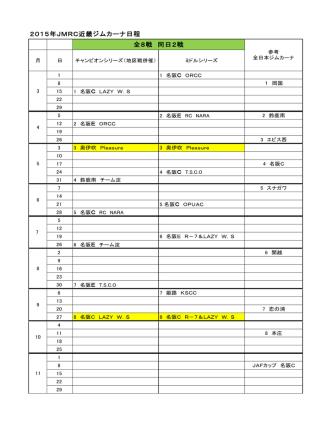 2015年カレンダー - JMRC近畿ジムカーナ部会