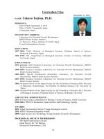 English CV - Takuro TOJIMA, Ph.D.