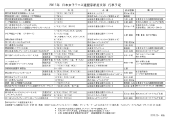 2015年 日本女子テニス連盟京都府支部 行事予定