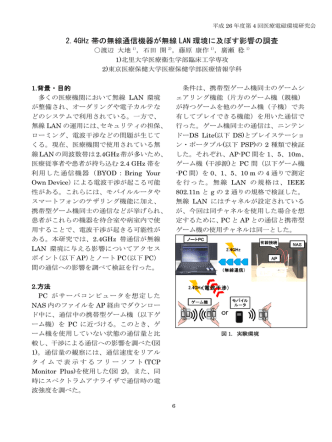 2.4GHz 帯の無線通信機器が無線 LAN 環境に及ぼす影響の調査