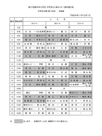 7:30 1 8:30 大 谷 - HC各務原 横田 レ ッ ト ゙ - 鯖 江 朝 日 - 稲 羽 2 8