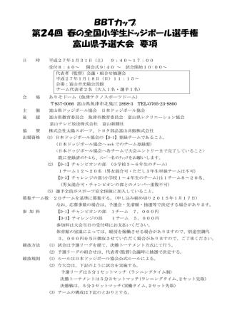 BBTカップ 第24回 春の全国小学生ドッジボール選手権 富山県予選大会