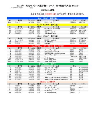2014年 東北モトクロス選手権シリーズ 第8戦岩手大会(10/12)