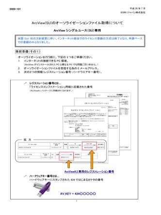 ArcView(SU)のオーソライゼーションファイル取得について