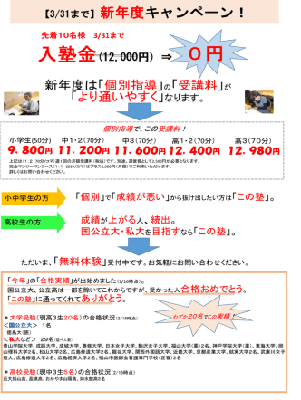 2015年2~3月末 チラシ - 【福山市】個別指導・少人数クラス授業の