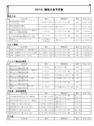 2015年度 競技本部行事予定表
