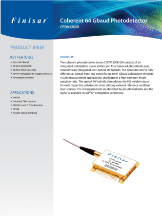 CPDV1200R 40 GHz Coherent Photodetector Product Brief