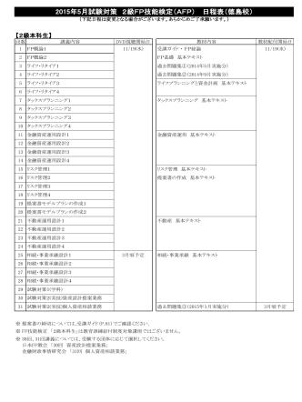 2015年5月試験対策 2級FP技能検定(AFP) 日程表