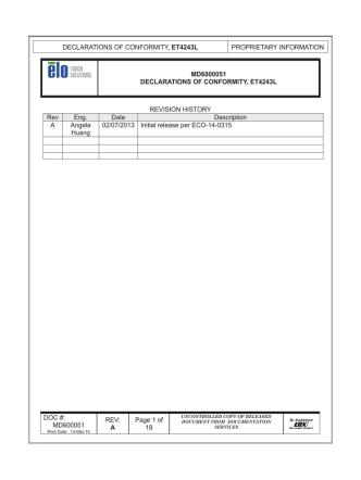 DECLARATIONS OF CONFORMITY, ET4243L PROPRIETARY