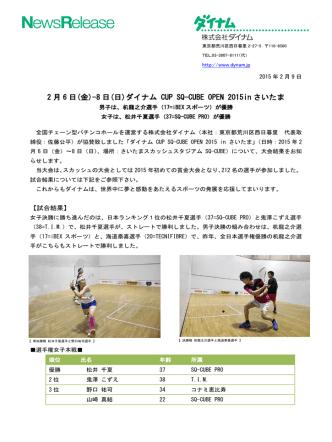 2 月 6 日(金)-8 日(日)ダイナム CUP SQ