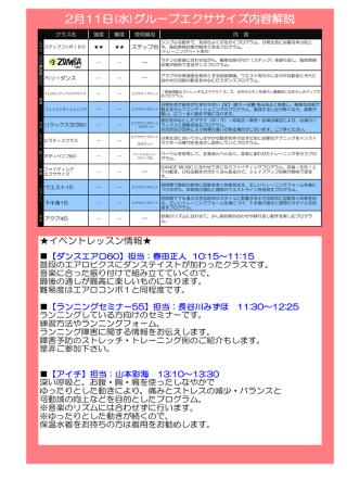 2月11日(水)グループエクササイズ内容解説