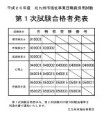 第1次試験合格者発表 - 北九州市福祉事業団