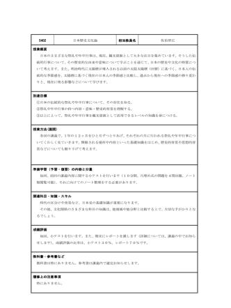 5402 日本歴史文化論 担当教員名 佐伯智広 授業概要 日本のさまざま
