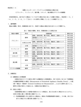 134 別表第2-3 国際エネルギースタープログラムの対象製品の測定方法