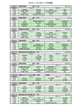 2014シーズンS2リーグ日程表 - 新潟バスケットボール SN