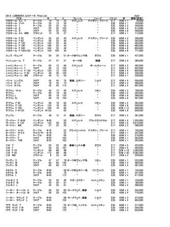 2014 LUMINARA ルミナーラ Price List April ITEM W D H フレーム