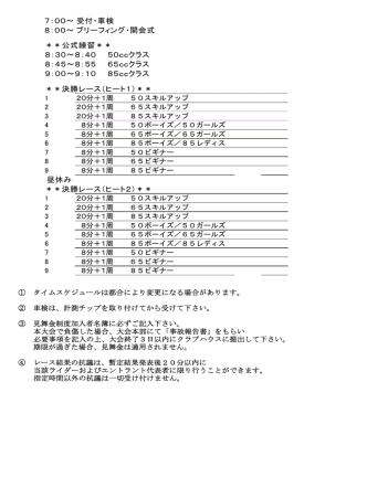 7:00~受付・車検 8:00~ブリーフィング・開会式 **公式練習** 8