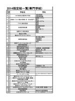 2014年度指定校推薦枠一覧(専門)