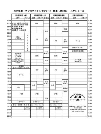 2014年度 ナショナルトレセンU-12 関東(第2回) スケジュール