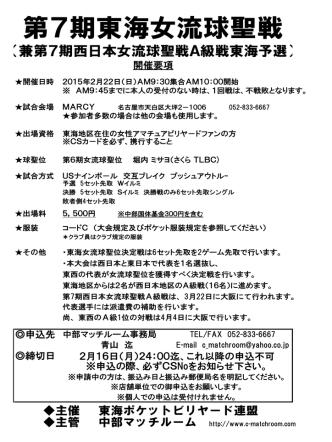 2月22日 第7期東海女流球聖戦